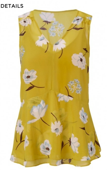 Cabi Dazzle Top small yellow floral